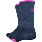 "Defeet Cyclismo Merino Wool 5"" Sock: Charcoal/Hi-Vis Pink"