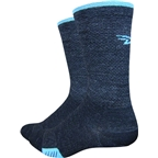 "Defeet Cyclismo Merino Wool 5"" Sock: Charcoal/Carolina Blue"