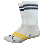Strawfoot Classico Handmade Ballpark Stripe Sock: White w/ Black/Yellow Stripe