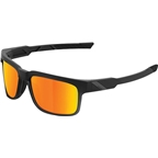 100% Type-S Sunglasses: Soft Tact Black Frame with HD Red Mutlilayer Mirror Lens