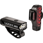 Lezyne Micro Drive 500XL and Strip Headlight and Taillight Set: Gloss Black
