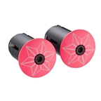 Supacaz Star Plugz Bar Plugs, Powder Coated Hot Pink