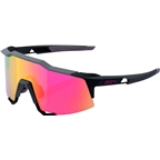 100% Speedcraft Sunglasses: Soft Tact Graphite Frame with Purple Multilayer Mirror Lens, Spare Clear Lens Included