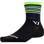 Swiftwick Aspire Stripe Four Sock: Black/Green/Gray