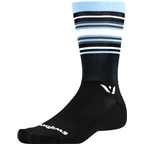 Swiftwick Aspire Stripe Seven Sock: Black/Light Blue/Gray
