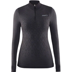 Craft Wool Comfort Women's Zip Long Sleeve Top: Black
