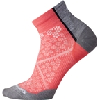 Smartwool PhD Cycle Ultra Light Women's Pattern Crew Sock: Bright Coral