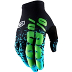 100% Celium II Full Finger Glove: Flash Black/Cyan