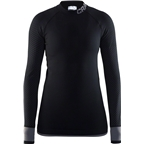 Craft Warm Intensity Women's Base Layer Crew Neck Long Sleeve Top: Black/Granite