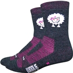 "DeFeet Woolie Boolie 4"" Baaad Sheep Sock: Charcoal/Neon Pink"