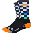 "DeFeet Aireator 6"" Fast Times Sock: Black/Multi-Colored Checkers"