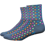 "DeFeet Aireator 3"" Spotty Sock: Gray/Multi-Colored Spots"