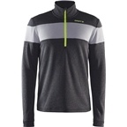 Craft Spark Men's Mid Layer Half Zip Top: Black Melange/Gray Melange