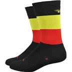 "DeFeet Thermeator 6"" Belgie Sock: Black/Red/Gold"