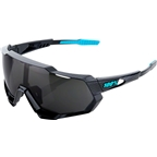 100% Speedtrap Sunglasses: Polished Black Graphic Frame with Black Mirror Lens, Spare Clear Lens Included