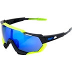100% Speedtrap Sunglasses: Polished Black/Neon Yellow Frame with Electric Blue Mirror Lens, Spare Clear Lens Included