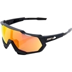100% Speedtrap Sunglasses: Soft Tact Black Frame with HiPER Red Multilayer Mirror Lens, Spare Clear Lens Included