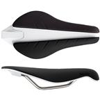 Fabric Tri Elite Flat Saddle: Black/White