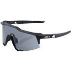 100% Speedcraft Sunglasses: Soft Tact Black Frame with Smoke Lens, Spare Clear Lens Included