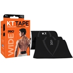KT Tape Pro Wide Kinesiology Therapeutic Body Tape: Roll of 10 Strips, Black
