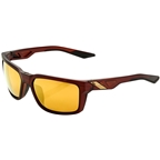 100% Daze Sunglasses: Soft Tact Rootbeer Frame with Flash Gold Lens