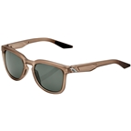 100% Hudson Sunglasses: Soft Tact Translucent Crystal Sepia Frame with Gray Green Lens
