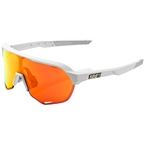 100% S2 Sunglasses: Soft Tact Off White Frame with HiPER Red Multilayer Mirror Lens, Spare Clear Lens Included