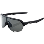 100% S2 Sunglasses: Soft Tact Black Frame with Smoke Lens, Spare Clear Lens Included
