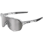 100% S2 Sunglasses: Polished Translucent Gray Frame with HiPER Silver Mirror Lens, Spare Clear Lens Included