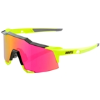 100% SpeedCraft Sunglasses: Polished Black/Fluorescent Yellow Frame with Purple Multilayer Mirror Lens, Spare Clear Lens Included