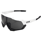 100% SpeedTrap Sunglasses: Matte White/Black Frame with Smoke Lens, Spare Clear Lens Included