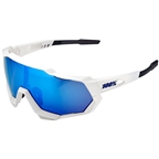 100% SpeedTrap Sunglasses: Matte White Frame with HiPER Blue Multilayer Mirror Lens, Spare Clear Lens Included