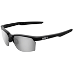 100% SportCoupe Sunglasses: Matte Black Frame with HiPER Silver Mirror Lens, Spare Clear Lens Included