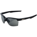 100% SportCoupe Sunglasses: Soft Tact Black Frame with Smoke Lens, Spare Clear Lens Included