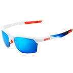 100% SportCoupe Sunglasses: Polished White/Geo Print Frame with HiPER Blue Multilayer Mirror Lens, Spare Clear Lens Included