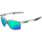 100% SportCoupe Sunglasses: Polished Translucent Crystal Gray Frame with Green Multilayer Mirror Lens, Spare Clear Lens Included