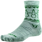 Swiftwick Vision Five Snowman Sock: Heather/Green