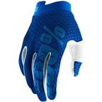 100% iTrack Men's Full Finger Gloves: Blue/Navy