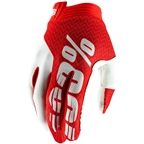 100% iTrack Men's Full Finger Gloves: Red/White
