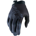100% iTrack Men's Full Finger Gloves: Black/Charcoal