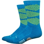"DeFeet Woolie Boolie Comp 6"" Fishbone Socks: Petrol Blue Wool Comp/Jalapeno"
