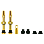 Muc-Off Tubeless Valve Kit: Gold, fits Road and Mountain, 44mm, Pair