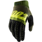 100% Ridefit Men's Full Finger Gloves: Army Green/Fluo Lime/Fatigue