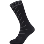 SealSkinz Waterproof Warm Weather Mid Length Hydrostop Socks - 5 inch, Black/Gray