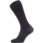 SealSkinz Waterproof All Weather Mid Length Hydrostop Socks - 5 inch, Black/Gray