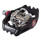 Exustar PM825 SPD MTB Pedals, Black/Red