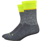 DeFeet Wooleator Comp Team DeFeet Socks - 6 inch, Gravel Gray/Hi-Vis Yellow
