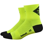DeFeet Airaetor Share the Road Socks - 2 inch, Hi-Vis Yellow/Black