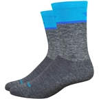 DeFeet Wooleator Comp Team DeFeet Socks - 6 inch, Gravel Gray/Process Blue