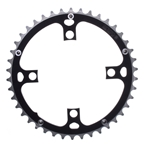 Origin8 104mm 4 Bolt Alloy Ramped Chainrings, 46T, 8/9/10sp, Black/Silver